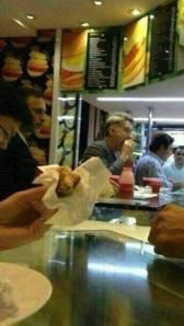 "Eike enjoying the dollar menu at ""BB Lanches"" in Leblon, Rio de janeiro"